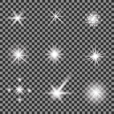 lens: Set of Different White Lights Isolated on Grey Checkered Background