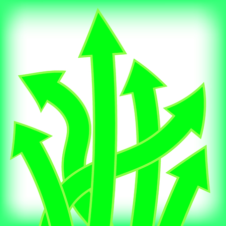 green arrows: Set of Green Arrows on White Background