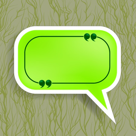 Green Paper Speech Bubble Isolated on Dark Background Ilustra��o