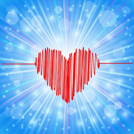 electrocardiograph: Heart Icon on Abstract Blue Background. Day of Heart Symbol