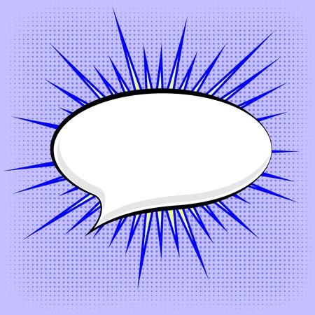 speech: Speech Bubble on Blue Dotted Background. Retro Comic Speech Bubble