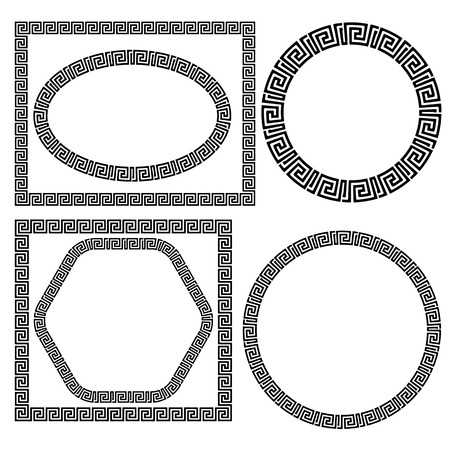 Set of Greek Ornamenal Frames Isolated on White Background Vettoriali