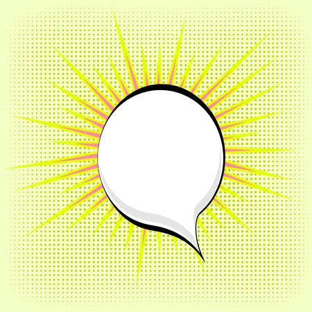 comic bubble: Speech Bubble on Yellow Dotted Background. Retro Comic Speech Bubble Illustration