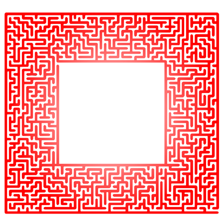 hopeless: Red Labyrinth Isolated on White Background. Kids Maze