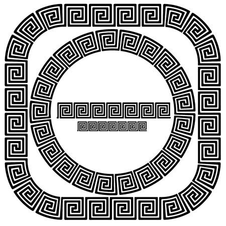 Set of Greek Ornamenal Frames Isolated on White Background Illustration