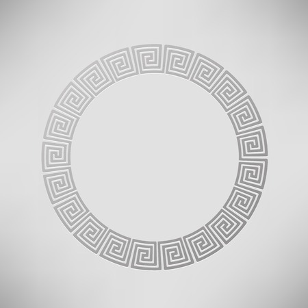 Greek Ornamental  Circle Frame Isolated on Grey Background