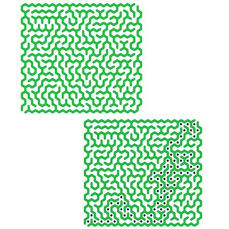 leading the way: Labyrinth Isolated on White Background. Kids Maze Illustration