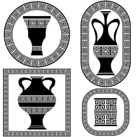 Set  of Greek Frames Isolated on White Background Illustration