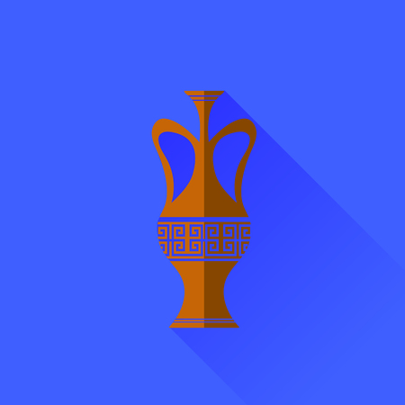 antiquities: Amphora  Icon Isolated on Blue Background. Long Shadow Illustration