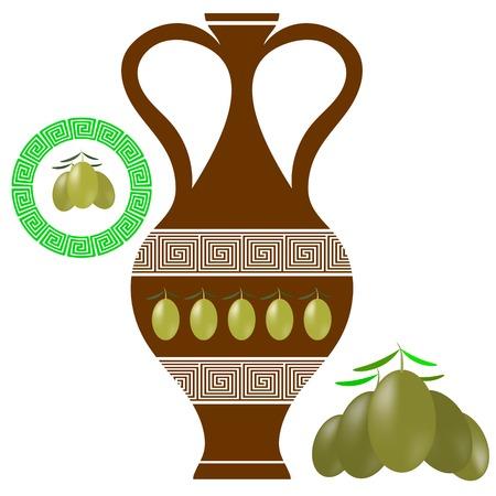 amphora: Greek Amphora Isolated on White Background. Olives Icon on White Background.