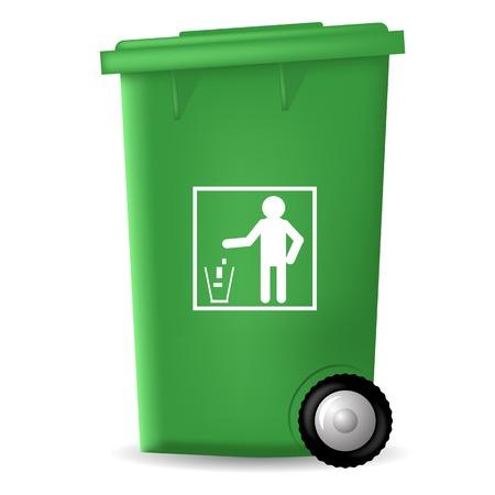trash bin: Green PlasticTrashcan Isolated on White Backgrouund. Green Trash Bin