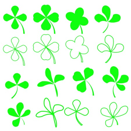 shamrock: Set of Green Leaves Icons Isolated on White Background. Symbols of Patricks Day. Green Shamrocks Stock Photo