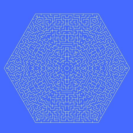 leading the way: Labyrinth Isolated on Blue Background. Kids Maze