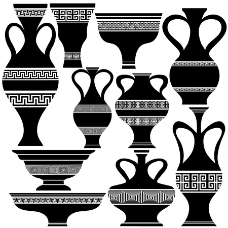 antiquity: Set of Greek Amphora Silhouettes Isolated on White Background Stock Photo
