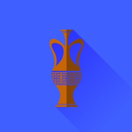 antiquities: Amphora Icon Isolated on Blue Background. Long Shadow
