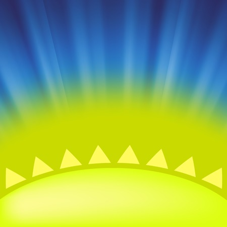 the light rays: Part of Yellow Sun on Blue Sky Background