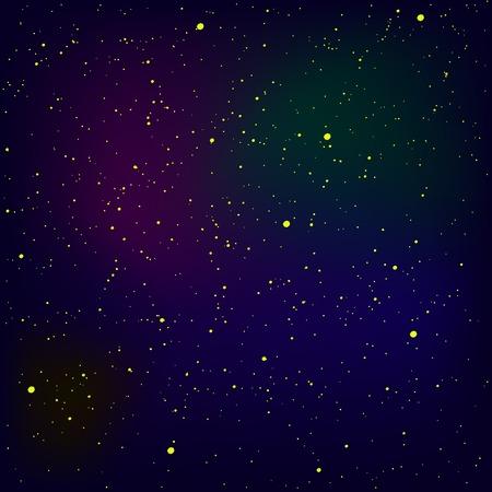 Reihe von gelben Sternen auf blauem Himmel Hintergrund. Stars Background. Milchstraße