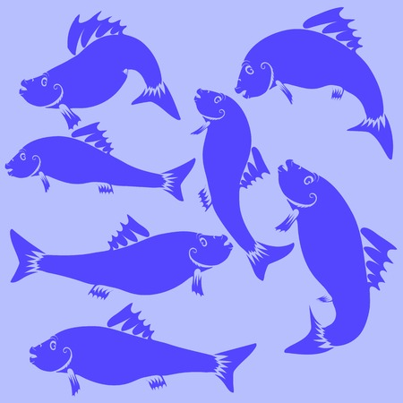 blue fish: Fish Blue Silhouettes Isolated on Blue Background