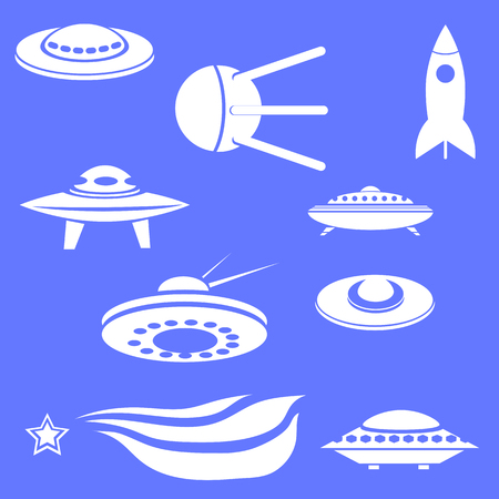 autopsy: Set of Spaceships Silhouettes Isolated on Blue Background