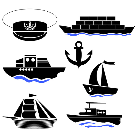admiral: Sea Ships Silhouettes Isolated on White Background. Anchor Icon. Captain Hat Icon