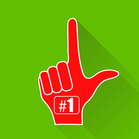 foam finger: Red Foam Finger Isolated on Green Background. Long Shadow