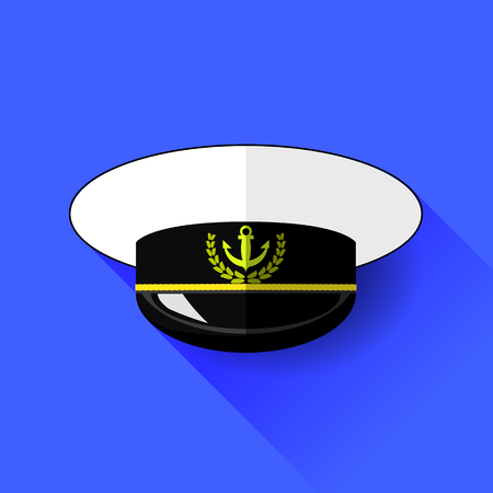 admiral: Seilor Hat Icon Isolated on Blue Background. Long Shadow.
