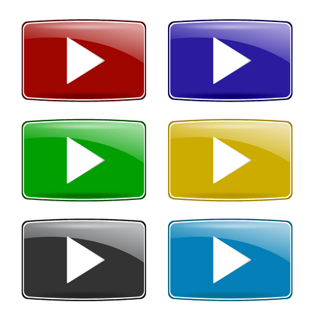 off the record: Set of Colorful Play Icons Isolated on White Background. Glossy Colored Play Buttons