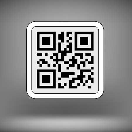 qrcode: Product Barcode 2d Square Label on Soft Grey Background. Sample QR Code Ready to Scan with Smart Phone