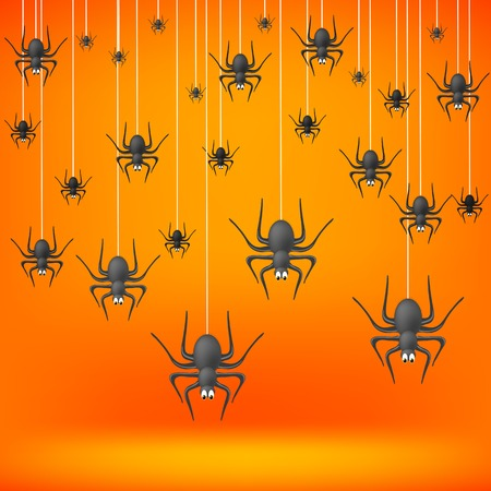 fall down: Set od Grey Spiders Fall Down on Soft Orange Background. Symbols of Halloween.