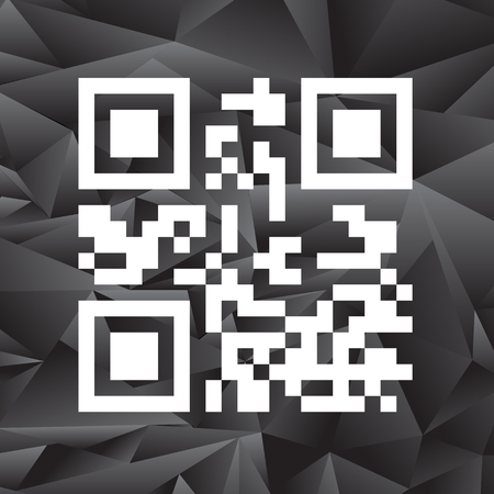 Product Barcode 2d Square Label 0n Grey Polygonal Background. Sample QR Code Ready to Scan with Smart Phone
