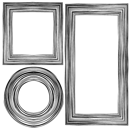 woodgrain: Set of  Different Wooden Frames Isolated on White Background Illustration