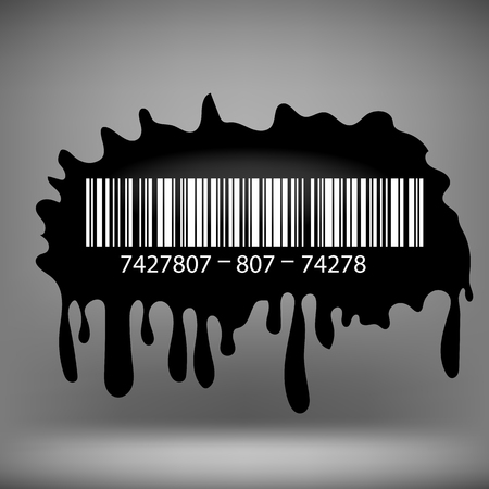 the ink blot: Ink Blot with Barcode Isolated on Grey Background