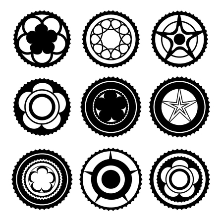 sprocket: Bike Chainrings and Rear Sprocket. Set of Chainwheels Silhouettes Vectores
