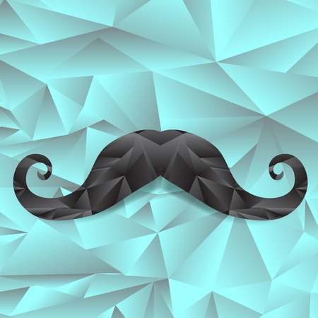 style goatee: Black Polygonal Mustache Isolated on Mosaic Background