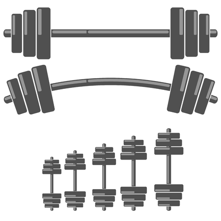Set of Barbells Isolated on White Background