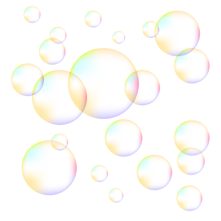 foam bubbles: Transparent Colorful Foam Bubbles Isolated on White Background Stock Photo