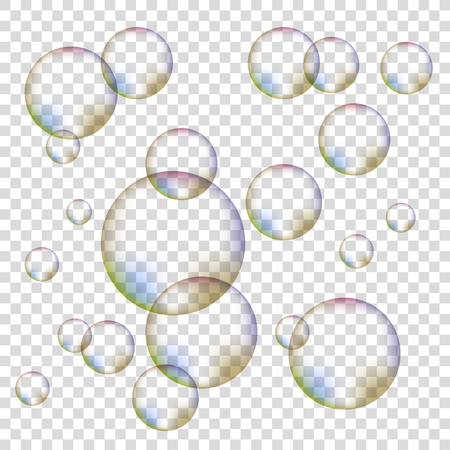 foam bubbles: Set of Colorful Transparent Foam Bubbles Isolated on Checkered Background