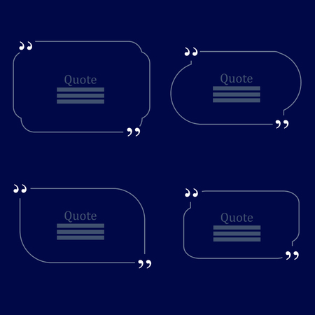 citing: Quote Bubble. Set of Speech Bubbles. Empty Templates on Blue Background Illustration