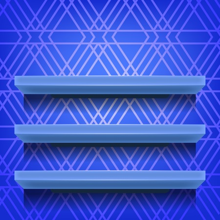 retail display: Blue Shelves  on Ornamental  Blue Lines Background