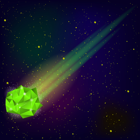 meteor: Green Falling Meteor on Blue Sky Background Illustration