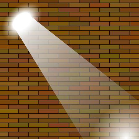 night club interior: Orange Brick Wall Illuminated Beam of Light