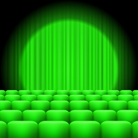 entertainment background: Green Curtains with Spotlight and Seats. Classic Cinema with Green Chairs