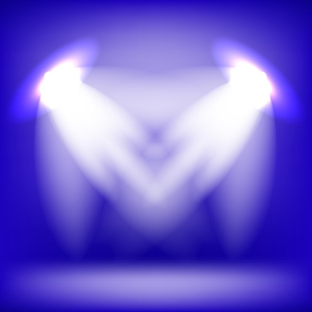 award lit: Two Spotlights Isolated on Blue Background. Stage Spotlight Background