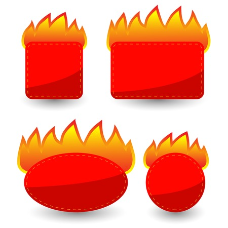 burning paper: Set of Burning Paper Red Stickers Isolated on White Background