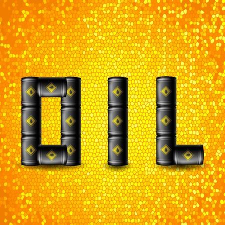 metal noir: Set of Black Metal Oil Barrels Isolated on Mosaic Yellow Background. Illustration