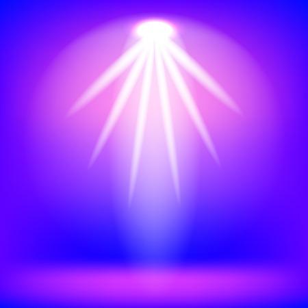Pink Spotlight Isolated on Blue Background.Stage Spotlight Background Çizim
