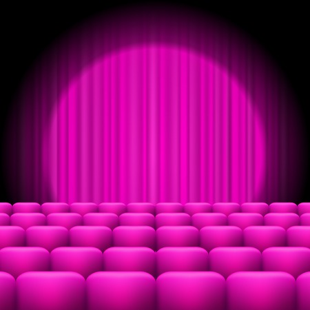 spotlight: Pink Curtains with Spotlight and Seats. Classic Cinema with Pink Chairs Illustration