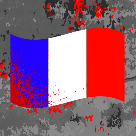 french flag: Flag of France and Blood Splatter. Bloody French Flag on Grey Background