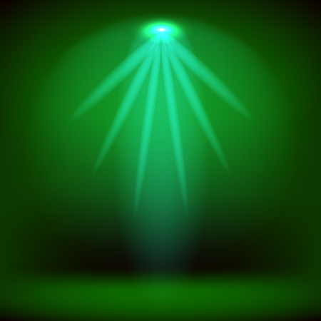 stage: Spotlight Isolated on Green Background.Stage Spotlight Background