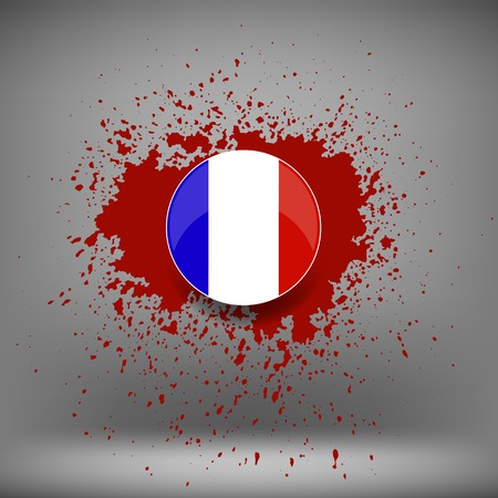 killed: French Icon and Blood Splatter on Soft Grey Background Illustration